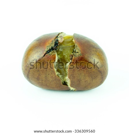 Chinese food, Set chestnut isolated on white background, Sweet Edible Chestnuts, - stock photo