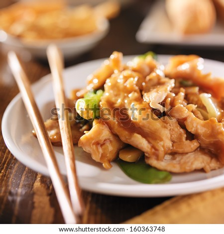 chinese food - stir fry chicken with vegetables - stock photo