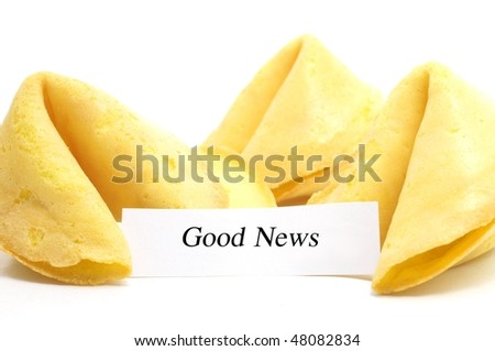 chinese fortune cookie whit label isolated on a white background - stock photo