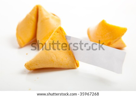 Chinese fortune cookies with one blank fortune - copy space - stock photo