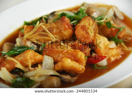 chinese fried fish with oyster sauce - stock photo