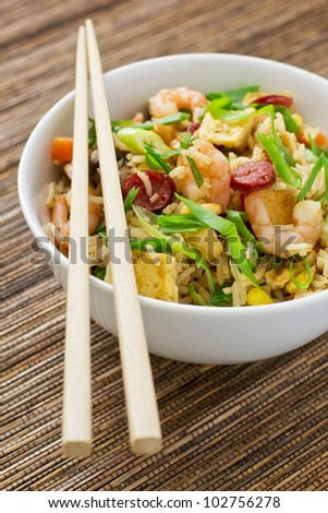 Chinese fried rice served in a bowl - stock photo
