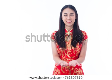 Chinese girl traditional chinese cheongsam greeting stock photo chinese girl in traditional chinese cheongsam greeting isolated on white background m4hsunfo