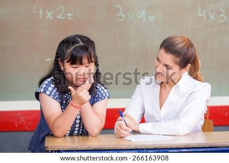 Girl Math Teacher Chinese Girl Learning Math