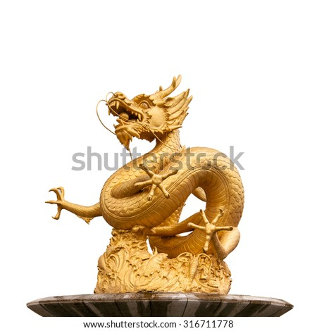 Chinese golden dragon statue isolated on white background. - stock photo