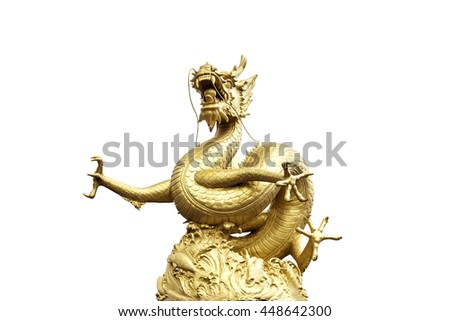 Chinese golden dragon statue isolated on white background. Chinese New years. - stock photo