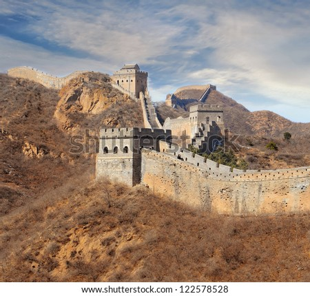 Chinese Great Wall in winter - stock photo