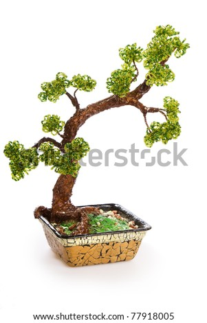 Chinese green bonsai tree Isolated on white background. Shakan style. - stock photo