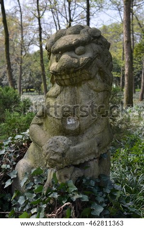 Chinese guardian lions, stone lions.