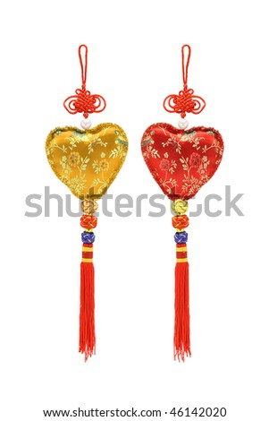 Chinese heart shape ornaments on white background