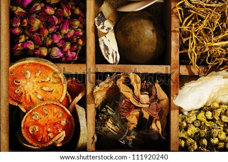 chinese herb in wood box - stock photo