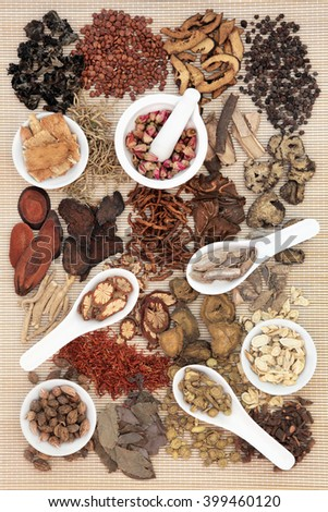 Chinese herb selection used in traditional alternative herbal medicine in porcelain mortar and pestle, bowls and spoons over bamboo background. - stock photo