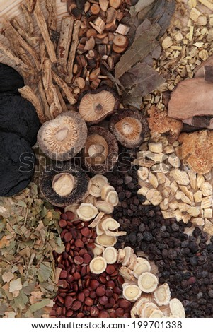 Chinese herbal medicine selection forming a background. - stock photo