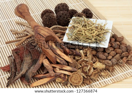 Chinese herbal medicine selection in a porcelain dish, scoop and loose over bamboo mat. - stock photo