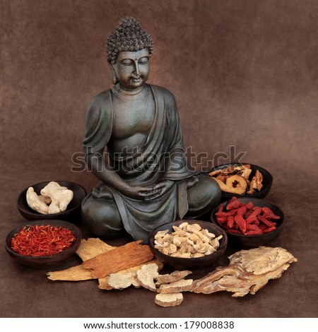 Chinese herbal medicine selection with buddha over handmade lokta paper background. - stock photo