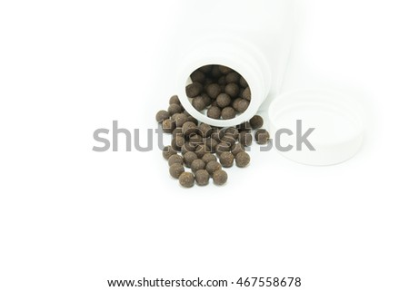Chinese herbal medicines on white background