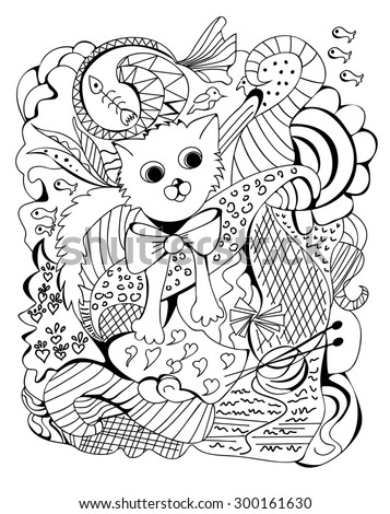 Chinese horoscope series - greeting card with a Doodle of a cat, raster copy of illustration - stock photo