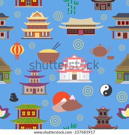 Chinese house and traditional culture symbols seamless pattern  illustration