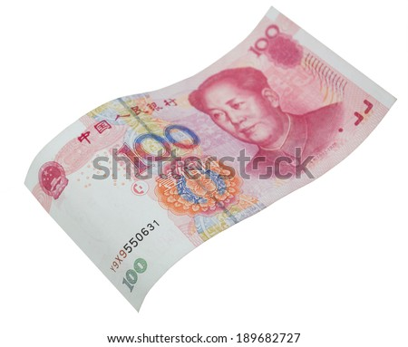 Chinese hundred yuan banknotes isolated on white background, hundred dollars bills