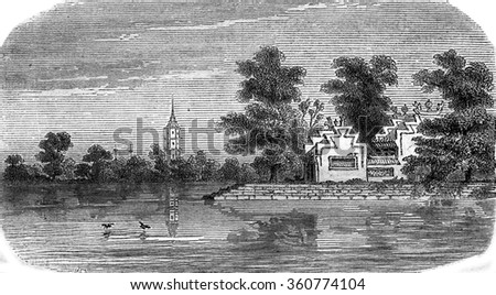 Chinese landscape between Macau and Canton, vintage engraved illustration. Magasin Pittoresque 1869.
