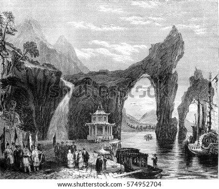 Chinese landscape, View taken on Tai-ho, vintage engraved illustration. Magasin Pittoresque 1845.