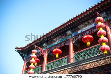 Chinese lantern and pavilion. Located in the Tianjin Ancient Culture Street, Tianjin City, China. - stock photo