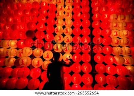 Chinese lanterns and shadow - stock photo