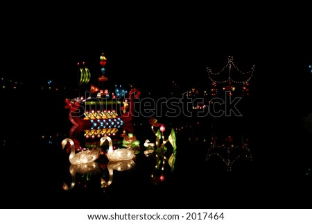 Chinese latern festival - Montreal botanique gardens - stock photo