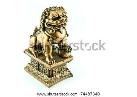 Chinese lion sculpture isolated on white background - stock photo