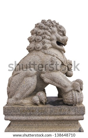 chinese lion statue in white background - stock photo