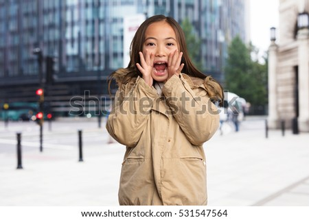 chinese little girl shouting