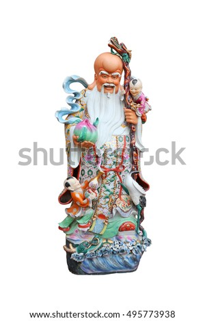 "Chinese lucky gods, Shou or Xiu statues ""God of Longevity"" on White background, God of Longevity (Shou,Siu)"