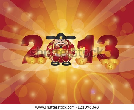 Chinese Lunar New Year 2013 Money Prosperity God with Bringing in Wealth and Fortune Text on Gold Bar Bokeh Background Illustration Raster - stock photo