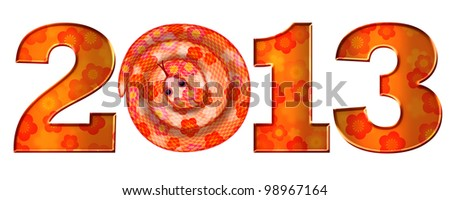 Chinese Lunar New Year of the Snake 2013 Illustration Isolated on White Background - stock photo