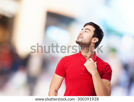 chinese man overwhelmed gesture - stock photo