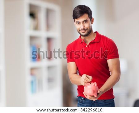 chinese man saving - stock photo