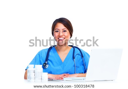 Chinese medical doctor woman. Isolated on white background. - stock photo
