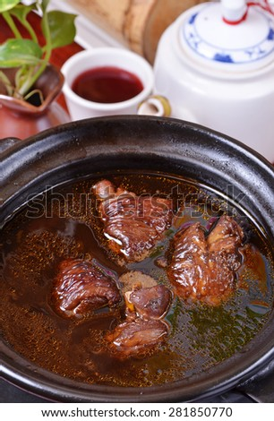 Chinese medicinal cuisine-Polygonum chicken soup       - stock photo
