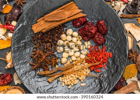 Chinese medicine dishes prepared with medicinal herbs health - stock photo