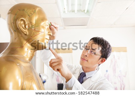 chinese medicine doctor point  acupoint on human model - stock photo