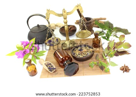 Chinese medicine with plants and mortar on light background