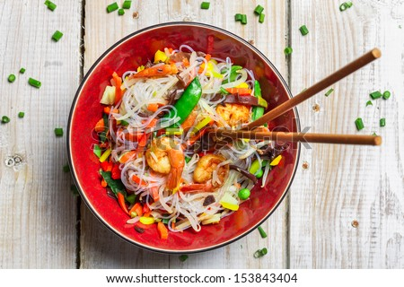 Chinese mix vegetables with shrimp - stock photo