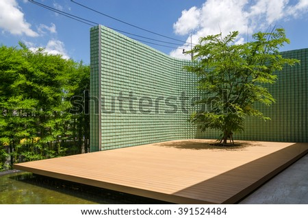 Chinese Modern Patio with Tree - stock photo