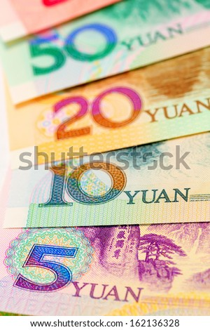 Chinese money close up view as background - stock photo
