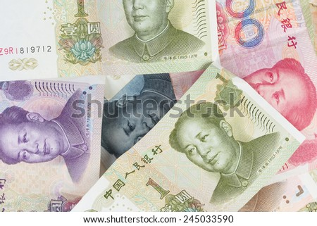 Chinese money close up view as background