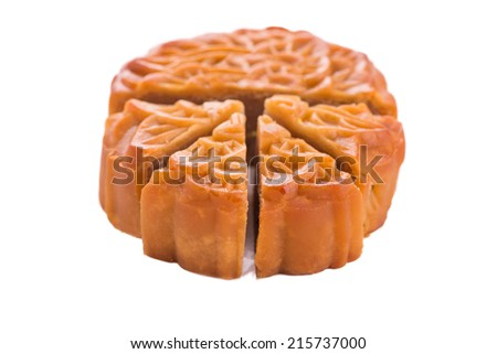Chinese moon cake for celebrate in Mid autumn festival. sliced moon cake with yolk. Isolated on white background - stock photo
