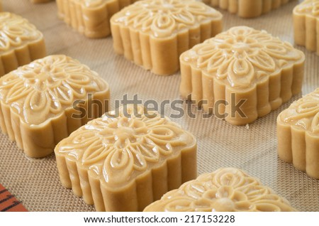 Chinese moon cakes ready to be cooked - stock photo