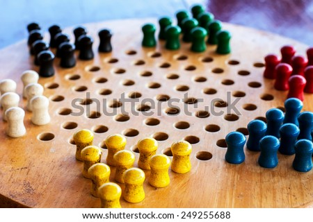 Chinese multicolored checkers - stock photo