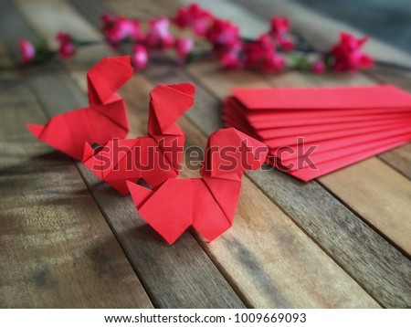 Chinese New Year Concept Red Origami Stock Photo Royalty Free