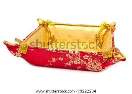 Chinese New Year Decoration Basket on white background - stock photo